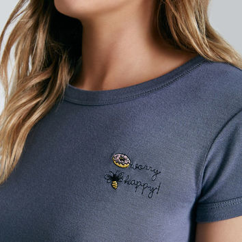 Donut Worry Embroidered Graphic Baby Tee | Wet Seal
