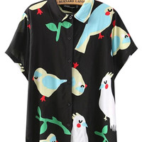 Bird Print Chiffon Short Sleeve Collared Top