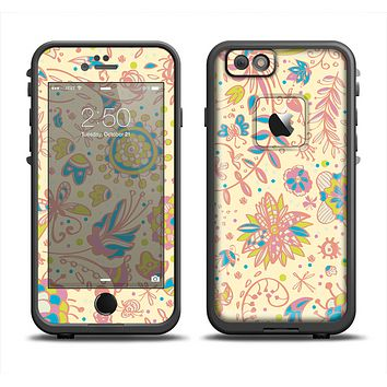 The Subtle Yellow & Pink Sketched Lace Patterns v21 Skin Set for the Apple iPhone 6 LifeProof Fre Case