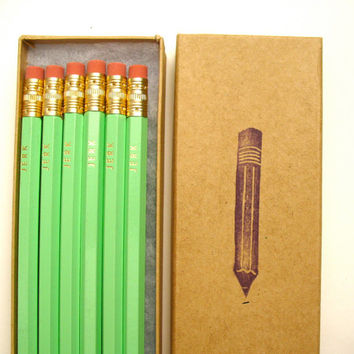 6 PENCILS - JERK - mint green - graphite hex pencils w/ kraft pencil box