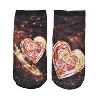 2017 Pretty Heart Ankle Socks/Women/Midnight Blue With Stars