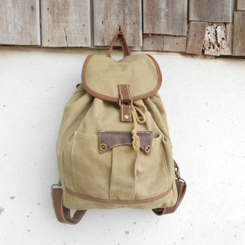 Vintage Khaki Fabric Backpack / Rucksack / Medium