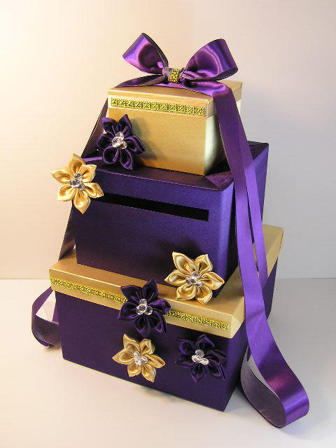 purple and gold wedding card box gift from bwithustudio on etsy