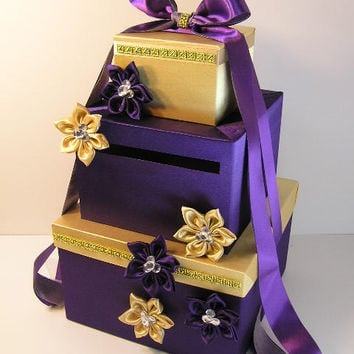 Purple and Gold Wedding Card Box Gift Card Box Money Box  Holder--Customize in your color- Customize