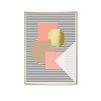 Pink Brown Dark Blue Stripes, Shapes Print, Modern Art Poster, Wall Art, Gold Stripes, Geometric Poster, Home Decor, Real Gold Foil,Wall Art