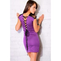 clubbing dresses, cheap dresses,  lace up back purple pencil clubbing mini dress