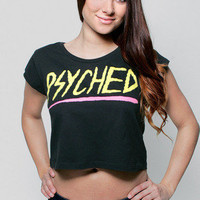 Girls Psyched Cap Sleeve Crop Top - Glamour Kills Clothing