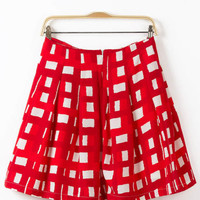 Color Block Grid Fashion Skirt