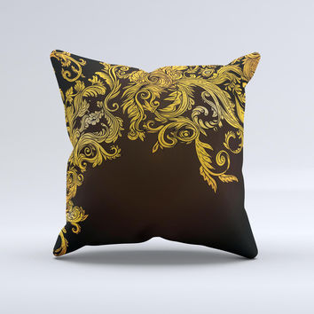 Gold Floral Vector Pattern on Black ink-Fuzed Decorative Throw Pillow