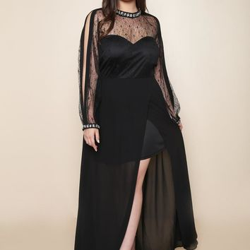 Be a star Sheer Holiday  Plus Size Maxi Dress