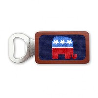 Republican Needlepoint Bottle Opener in Dark Navy by Smathers & Branson