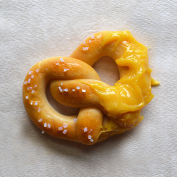 Soft Pretzel with Cheese Sauce Fridge Magnet, Polymer Clay Miniature Food