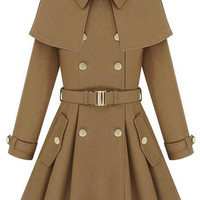 Cape-shawl Light Tan Coat | Pariscoming