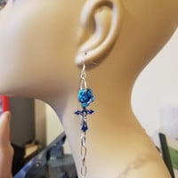 blue rose cross earrings long chain dangles handmade religious crucifix jewelry