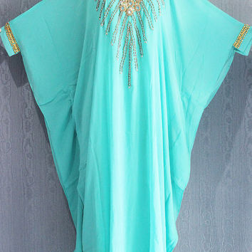 Very Fancy Light Green Sequin Caftan Dress, Plus Size Caftan Maxi Dress, Maxi Kaftan Gowns Dresses, Moroccan Dubai Abaya Maxi Caftan Dress