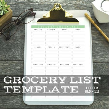 Grocery List Template Digital Download || Printable & Editable || Fillable PDF Form || Size 8.5 x 11