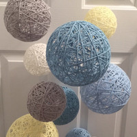 Iced aqua, yellow, white, light blue and gray yarn ball mobile