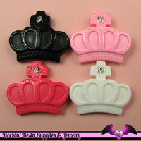 4 pieces CROWN with CRYSTAL    Resin Decoden Flatback Cabochon 26x22mm
