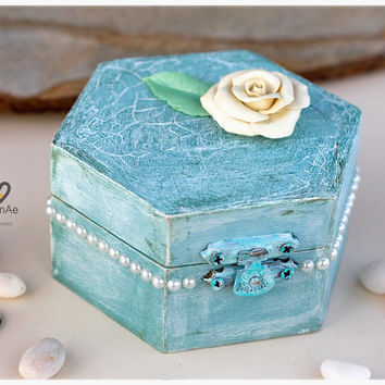Personalized shabby chic ring box: hand painted, distressed blue box with flower, ring bearer,  ring holder wedding box