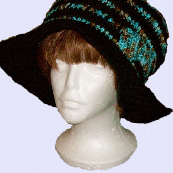 Hat with wide brim for Women/ Ladies in Black & Turquoise or Purple