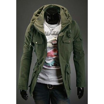 Army Green Turn down Collar Pockets Design Long Sleeves Coat
