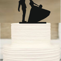 funny wedding cake topper, Silhouette wedding cake topper, Bride and groom Wedding Cake topper, initial cake topper,Rustic cake topper