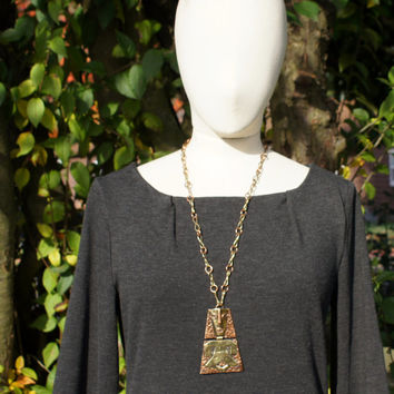 Mexican Mixed Metals Mayan Pendant Necklace