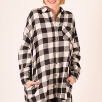 PLAID OVERSIZED FLANNEL - BLACK AND IVORY