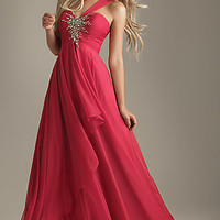 Pink One Shoulder Prom Dress by Night Moves 6203