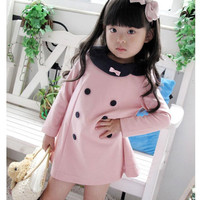 Girls Children Double-breasted Long Sleeved Dresses Girls Round Collar Bow Princess Dresses Kids Sweet Dresses Baby Clothing Pink Blue