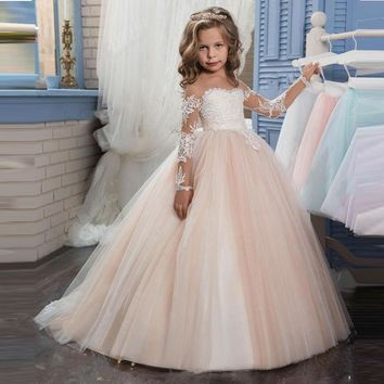 2017 New Champagne Puffy Lace Flower Girl Dress for Weddings Long Sleeves Ball Gown Girl Party Communion Pageant Gown Vestidos