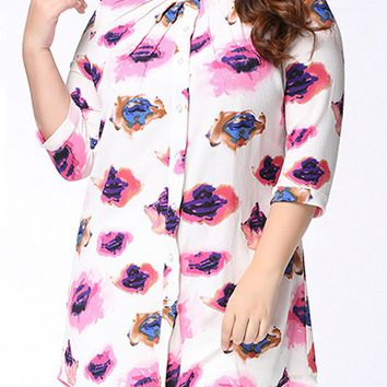 Streetstyle  Casual High-Low Band Collar Single Breasted Printed Plus Size Blouse