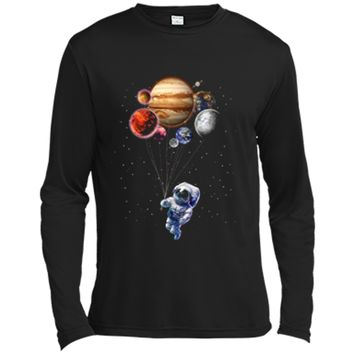 Cat as Astronaut in Space Holding Planet Balloon Long Sleeve Moisture Absorbing Shirt