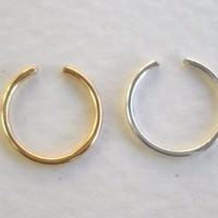 14K Gold Filled Ear & 925 Sterling Silver Cuff or Fake Nose Ring G20 8mm 2pcs set