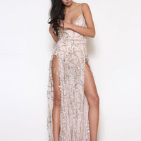 Black Club Dress Women's Strappy Sleeveless Sequins Low Back High Slit Semi Sheer Sexy Maxi Dress