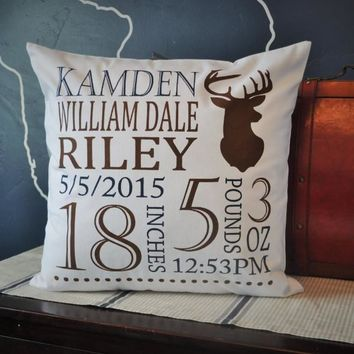Deer Hunter Personalized birth pillow cover
