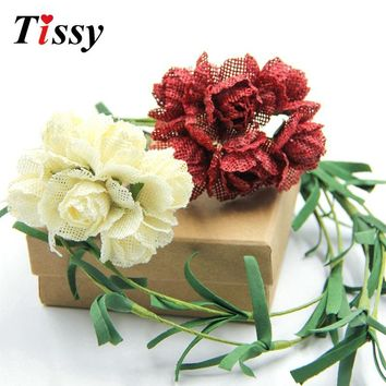 Jute Burlap Artificial Flowers Bouquet Wedding Car Decoration