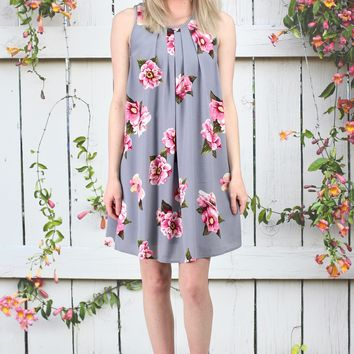 Sweet Florals Sleeveless Dress {Cool Grey Mix} EXTENDED SIZES