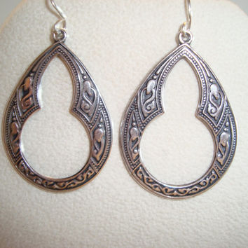 Silver Celtic Hoop Earrings on Sterling Silver Ear wires - BOHO Design - Dangle Earrings  -