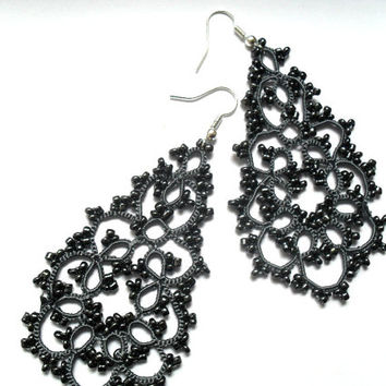 Tatted earrings - Long lace earrings - Dangle earrings - Chandelier earrings - Elegant earrings -   -Frivolite earrings-