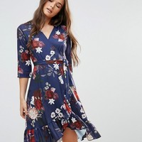 QED London Wrap Floral Midi Dress With Ruffle at asos.com
