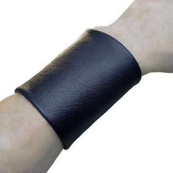Wide black leather cuff , Soft leather ,  tattoo cover 3 inch wide cuff , non metal jewelry solution
