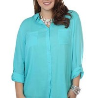 plus size three quarter sleeve button down top with front pockets - debshops.com