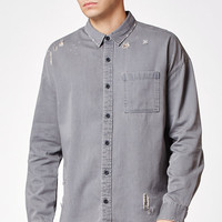 Modern Amusement Plaid Flannel Grey Long Sleeve Button Up Sherpa Shacket at PacSun.com