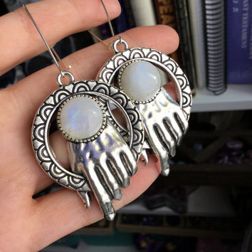 Rainbow Moonstone hand earrings, stretched ears, ear weights, 13g each, sold per pair, Made to order