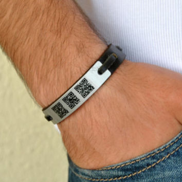 FREE SHIPPING - Men's Personalized QR Kod Bracelet, Woman Bracelet, Men's Leather Bracelet, Staninless Steel Clasp, Genuine Leather Bracelet