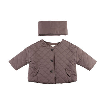 Cropped Down Quilted Jacket Purple W/Muffler