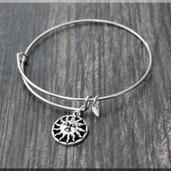 Silver Sun Charm Expandable Bangle Bracelet, Adjustable Bangle Bracelet, Stacking Charm Bracelet, Sun Charm Bangle, Celestial Charm Bracelet