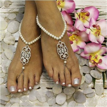 ELIZABETH pearl wedding barefoot sandals
