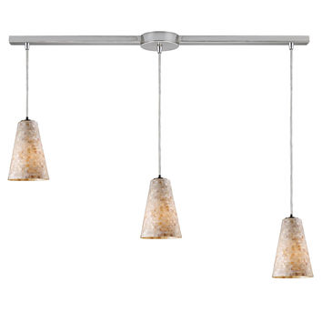 10142/3L Capri 3 Light Pendant In Satin Nickel And Capiz Shell - Free Shipping!